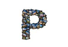 GUSSform-Alphabetcollage des Buchstaben P Versalien Lizenzfreie Stockfotografie