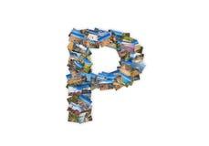 GUSSform-Alphabetcollage des Buchstaben P Versalien Lizenzfreie Stockfotos