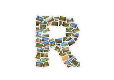 GUSSform-Alphabetcollage des Buchstaben R Versalien Stockfotografie