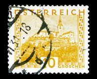 Gussing城堡,布尔根兰州,使serie环境美化,大约1929年 图库摄影