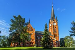 Gustav Adolf church is a parish church in Sundsvall. Sweden. Gustav Adolf church is a parish church in neo-gothic style in Sundsvall. The church was built in stock photography