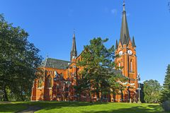 Gustav Adolf church is a parish church in Sundsvall. Sweden. Gustav Adolf church is a parish church in neo-gothic style in Sundsvall. The church was built in royalty free stock image