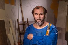 Gustav Klimt Wax Sculpture dans Madame Tussauds photographie stock