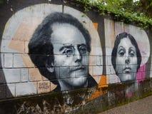 GUSTAV MAHLER I ISADORA DUNCAN, malowidło ścienne W OPATIJA, CHORWACJA Obraz Stock