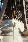 Gustave Eiffel monument located under Eiffel Tower Stock Photo