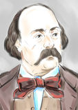 Gustave Flaubert. Artistic portrait of the famous writer Gustave Flaubert stock illustration