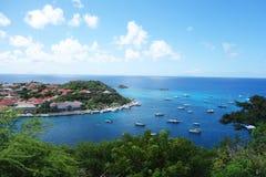 Gustavia hamn på St Barts, franska västra Indies arkivfoton