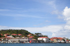 Gustavia Harbor waterfront at St Barts, French West Indies Stock Photography