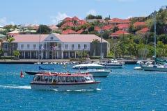Gustavia sikter, St Barths som är karibisk Fotografering för Bildbyråer