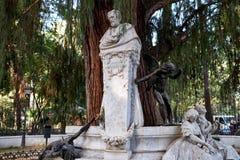 Gustavo Adolfo Becquer monument i Seville Fotografering för Bildbyråer