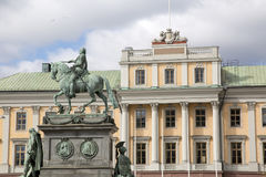 Gustavo II Adolf Statue por Archeveque; Estocolmo Foto de archivo