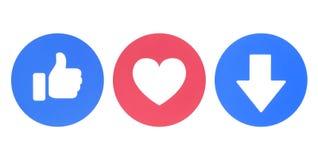 Gusto de Facebook, amor y nuevos iconos de Downvote de las reacciones comprensivas de Emoji libre illustration