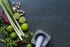 Gusto di verdure e piccante tailandese degli ingredienti alimentari, fotografia stock libera da diritti