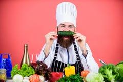 Gusto piacevole vegetariano Cuoco unico maturo con la barba Cuoco barbuto dell'uomo in cucina, culinaria Essere a dieta e aliment fotografia stock libera da diritti
