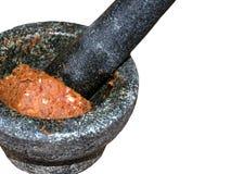 Gusto tailandese del peperoncino rosso in mortaio di pietra immagini stock libere da diritti