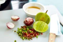 Gusto tailandese della salsa di pesce tre fotografie stock libere da diritti