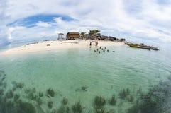 Gusungan西巴丹岛海岛Fisheye视图位于Semporna, Sab 免版税图库摄影