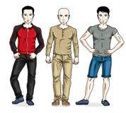 Gut aussehende Männer, die tragende moderne zufällige Kleidung stehen Vektor Lizenzfreie Stockfotografie