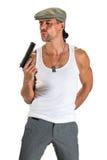 Gut aussehender Mann in der Kappe mit einem Gewehr Stockfotos