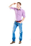 Gut aussehender Mann, der nach Jobs - in voller Länge lokalisiert auf weißem Ba sucht Lizenzfreie Stockfotos