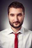 Gut aussehender Mann im weißen Hemd und in der roten Krawatte Stockbilder