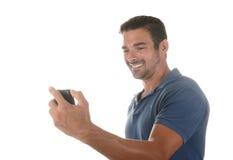 Gut aussehender Mann tut selfie Stockfotos