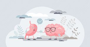Free Gut Brain Connection As Friendly Inner Organ Characters Tiny Person Concept Royalty Free Stock Photography - 215320107