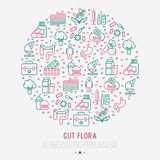 Gut flora concept in circle with thin line icons. Gut, bacteria, obesity, stomach, infection, depression, medicine. Vector illustration for medical survey or stock illustration
