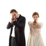 Gut gekleidet Mafiapaare Lizenzfreies Stockbild