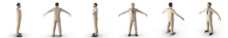 Gut gekleidet Mann im Anzug und Bindung, die auf weißer Illustration 3D steht Stockbild