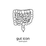 Gut human digestive system. Stock vector illustration of internal organs icon in black outline isolated on white background royalty free illustration