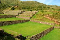 Gut konservierte ausbreitende alte landwirtschaftliche Terrassen von Tipon, heiliges Tal des Inkas, archäologische Fundstätte in  lizenzfreie stockfotografie