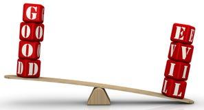 Gut und Böses-Balance Übel, aber nicht gutes stock abbildung