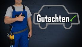 Gutachten in german expert car and craftsman with thumbs up.  royalty free stock photos
