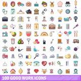 100 gute Arbeitsikonen eingestellt, Karikaturart Stockfoto