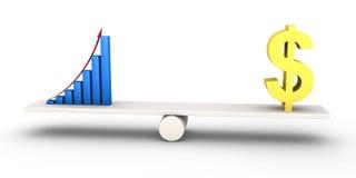 Gute Ergebnisdiagrammgleichgestellte mit Dollarsymbol Lizenzfreies Stockfoto