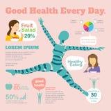 Gute Gesundheit jeden Tag mit infographics Stockbilder