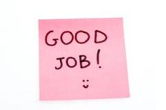 Gute Jobanmerkung Lizenzfreie Stockbilder