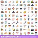 100 gute Jobikonen eingestellt, Karikaturart Stockbild