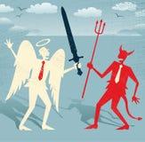 Gute Kämpfe der abstrakten Geschäftsmänner gegen Übel Lizenzfreie Stockfotos
