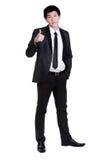Gute Klage des attraktiven intelligenten Erfolgs des Geschäftsmannes Stockfotografie