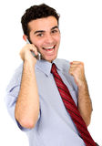 Gute Nachrichten am Telefon Lizenzfreie Stockbilder