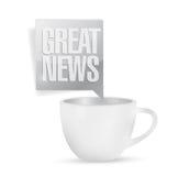 Gute Nachrichten und Kaffeetasse Abstraktes Hintergrundmosaik Stockfotografie