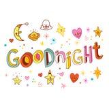 Gute Nacht - einzigartige Beschriftung Stockbild