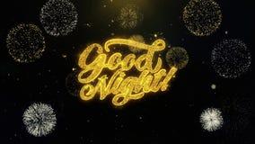 Gute Nacht schriftlich die Goldpartikel, die Feuerwerk explodieren