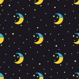 Gute Nachtnahtloses Muster mit nettem Schlafenmond und -sternen Lizenzfreie Stockfotos
