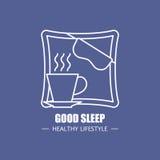Gute Schlafvektorlogo-Designschablone Modernes lineares Brandingelement für gesunde Lebensstilfirma Stehen Sie still und entspann Stockfotos