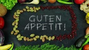 Guten appetit! Γερμανική κίνηση στάσεων φρούτων, σε αγγλικό Bon appetit Στοκ φωτογραφία με δικαίωμα ελεύθερης χρήσης