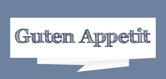 Guten Appetit - appréciez votre repas dans l'illustration de papier allemande de vecteur de signe de bulle de la parole illustration de vecteur