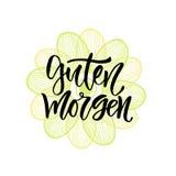Guten Morgen德国词组早晨好用英语 激动人心的字法海报或横幅党的 传染媒介手 库存照片